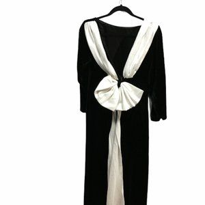 Vintage ribbon Velvet Women's Evening Dress